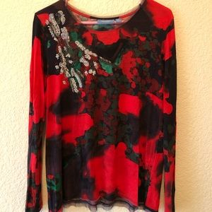 Bright red Simply Vera long sleeve top